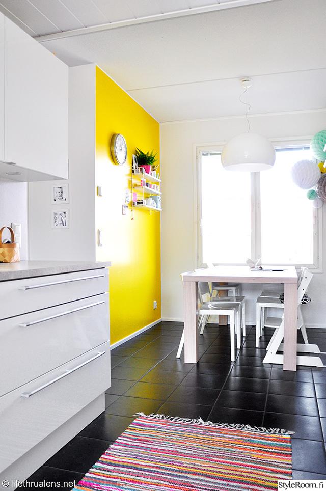 räsymatto,moderni,mustavalkoinen,keltainen,tehosteseinä,ruokapöytä,string poc