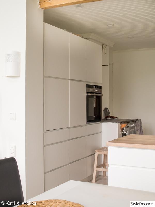 Kuva keittiö  Valkoinen moderni keittiö kumppaneinaan puuliesi ja lautalatti