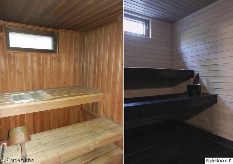 sauna,ennen ja jälkeen,remontti,saunavaha,musta sauna