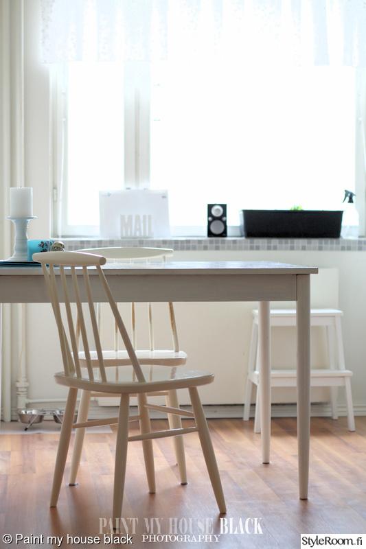 Bild på keittiö  Valkoinen keittiö kerrostalokolmiossa av MiinaP