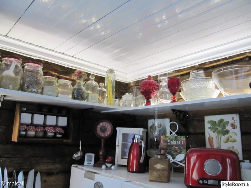 Keittiö Hylly - Kuva keittiö  Punainen tupa vanhassa torpassa  hannahuuhaa