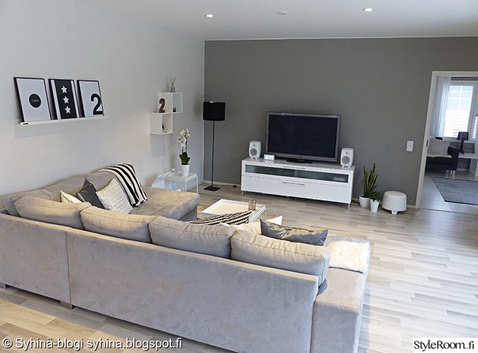 Olohuoneen Sohva : Olohuone,kulmasohva,harmaa,skandinaavinen,moderni