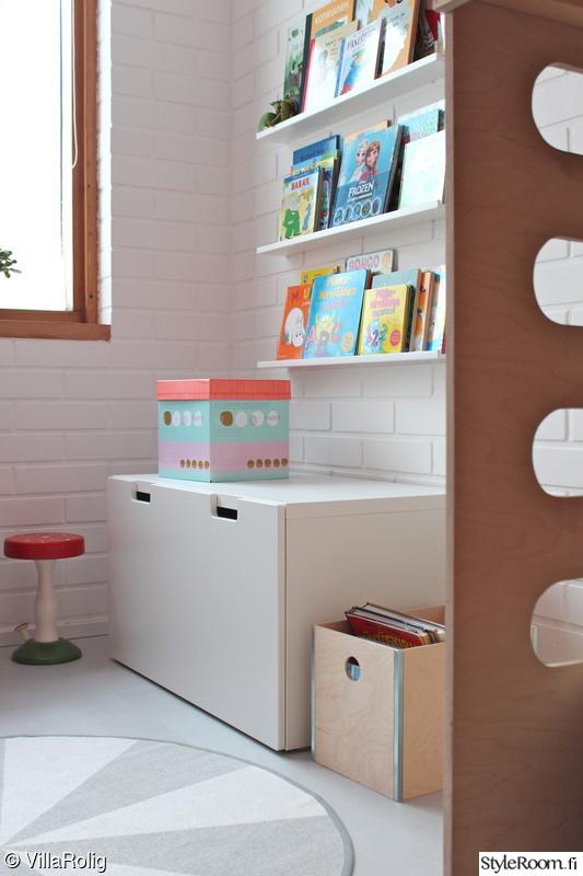 lastenhuone,kirjahylly,säilytyslaatikko,lastenhuone säilytys,stuva