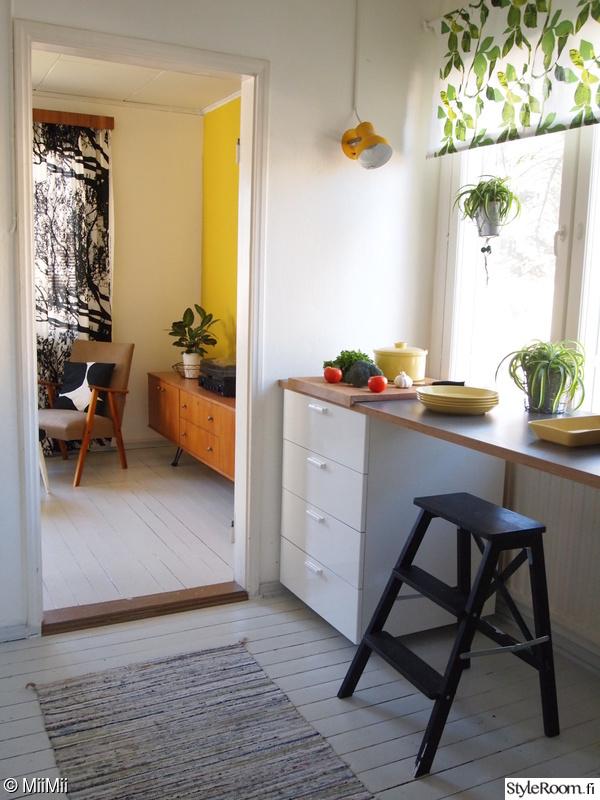 värikäs,keltainen seinä,keltainen,keltainen sisustus,keittiön astiat