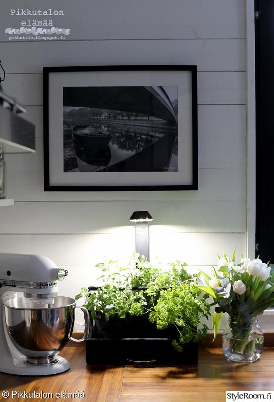 keittiö,tulppaanit,puinen työtaso,lautaseinä,kitchen aid