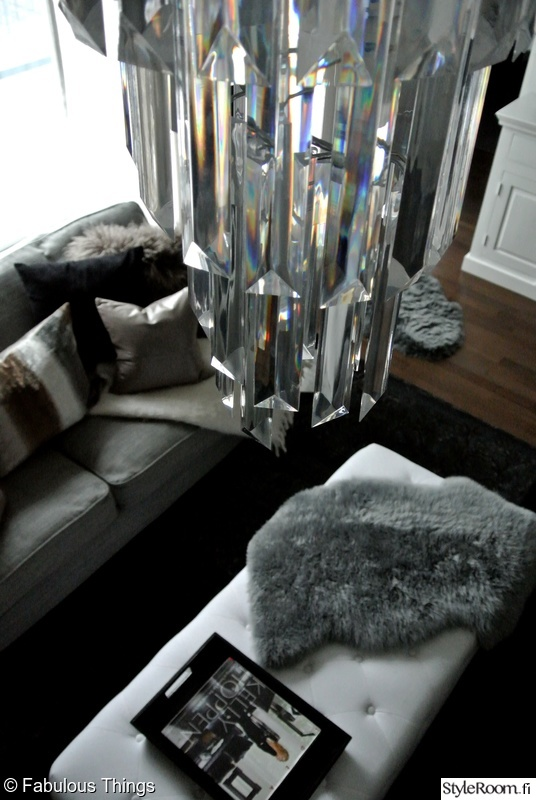 Olohuoneen Sohva : Kattokruunu,kattovalaisin,sohvapöytä,tarjotin,talja