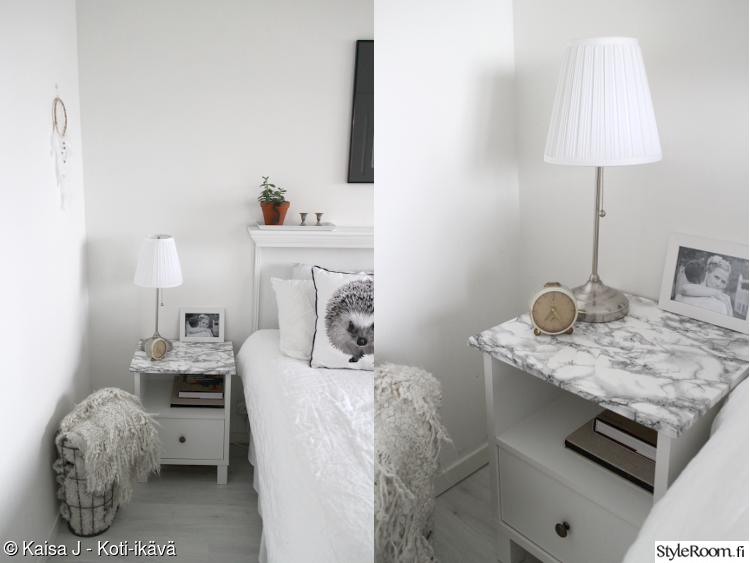 tuunaus,makuuhuone,diy,marmori,yöpöytä