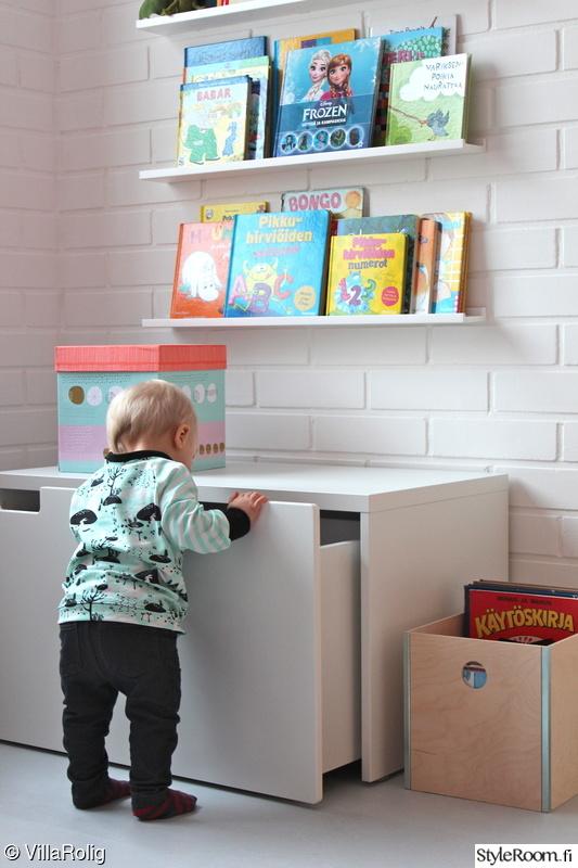 lastenhuone,kirjahylly,laatikosto,laatikko,seinähylly