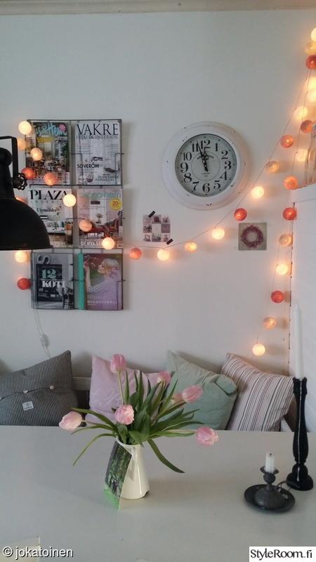 keittiö,kukat,lehtiteline,tulppaanit,pallovalot