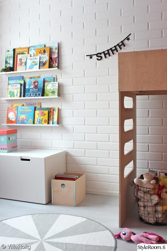 lastenhuone,kirjahylly,säilytys,kori,seinähylly