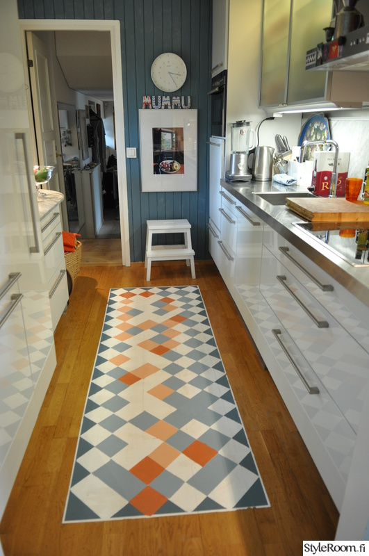 Kuva keittiö  Maalattu matto keittiön lattialle  Varpuli