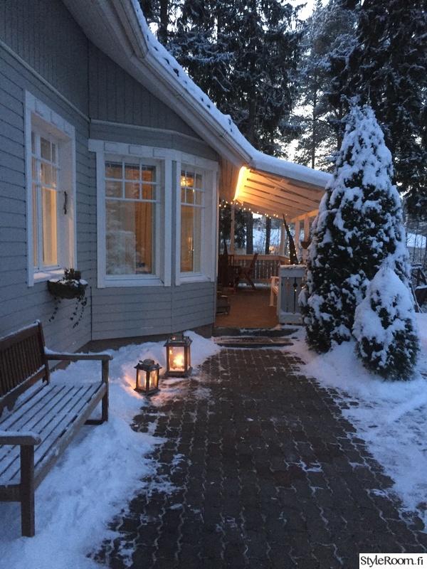 talvi,penkki,pihalyhty,kynttilälyhdyt