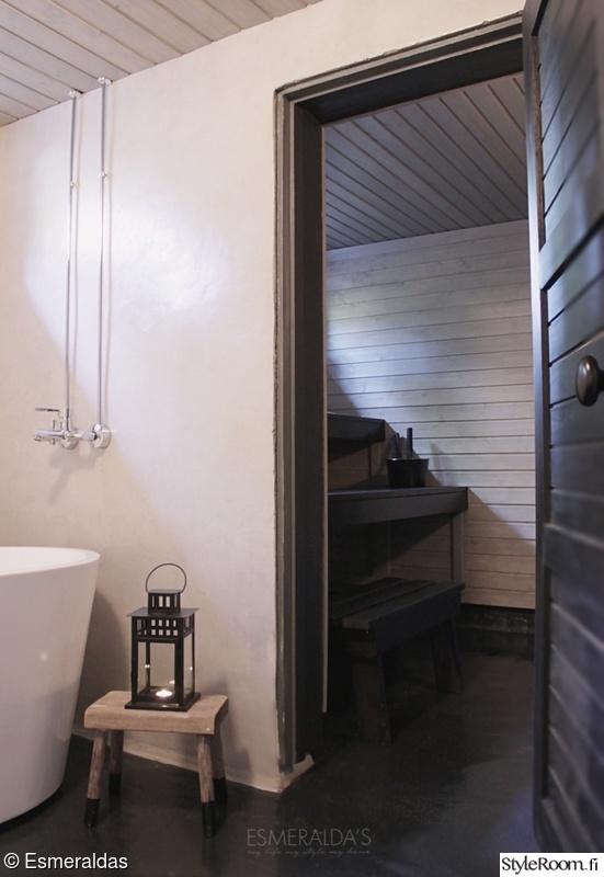 sauna,kylpyhuone,musta sauna,unelmientalojakoti,betonilattia