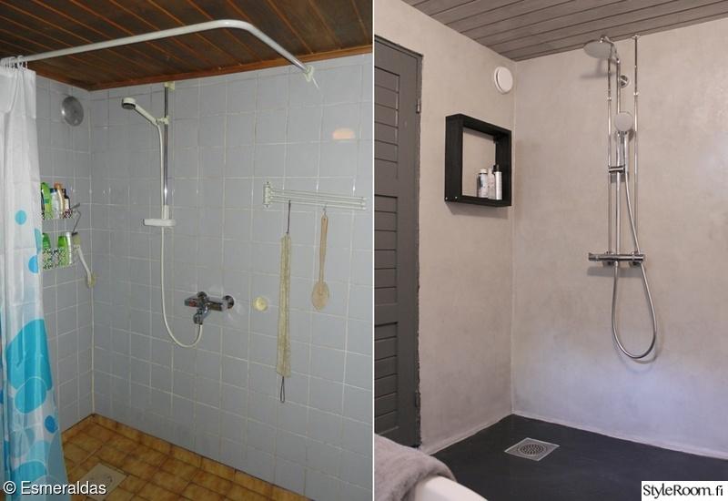 kylpyhuone,suihku,betoni,ennen ja jälkeen,remontti