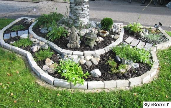 piha,puutarha,patsas,kivet,koivu