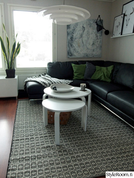 olohuoneen sisustus,villamatto,mustavalkoinen matto,skandinaavinen sisustus,matto