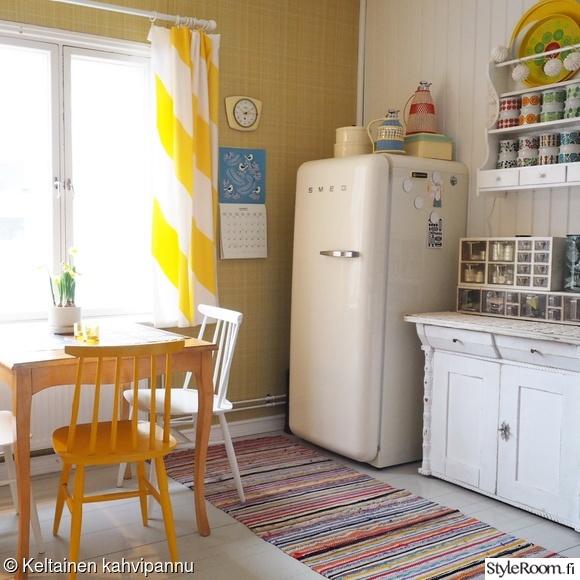 keittiö,pinnatuolit,räsymatto,pinnatuoli,keltainen
