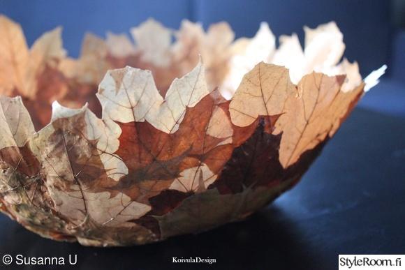 diy-kulho,askartelua,syksyn lehdet,kuivatut puunlehdet,sisustusidea