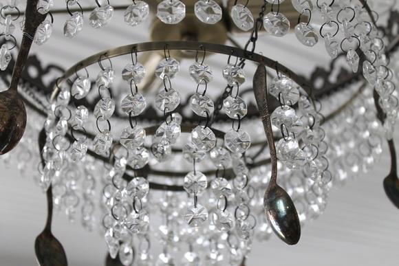 valaisin,kristalli,vanha lusikka,romanttinen,Tee itse - DIY