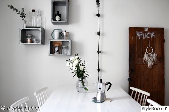 keittiö,mutteripannu,seinähylly,ovi,ruokapöytä