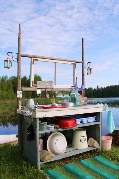 mökki,ranta,tiskipöytä,kesäkeittiö,emalivati