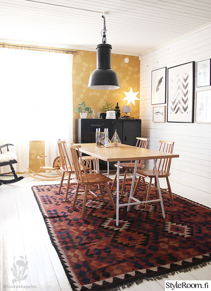 ruokailuhuone,ruokahuone,kiurujen yö,kelim-matto,pinnatuolit