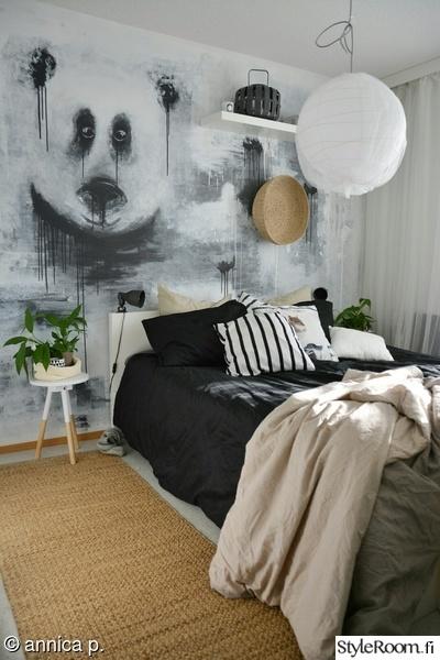 makuuhuone,seinä,seinämaalaus,matto,sivupöytä