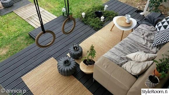 terassi,puutarha,piha,renkaat,matto