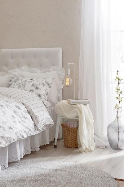 makuuhuone,makuuhuoneen sisustus,makuuhuoneen tekstiilit,pussilakana,pussilakanat