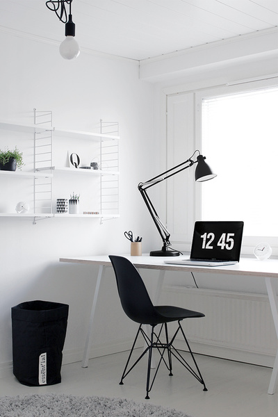 työhuone,dsr tuoli,hay loop stand,työpöytä,string hylly
