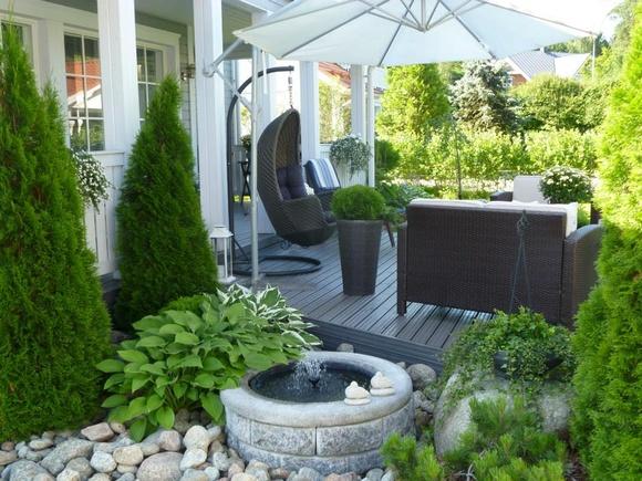 suihkulähde,terassi,puutarha,piha