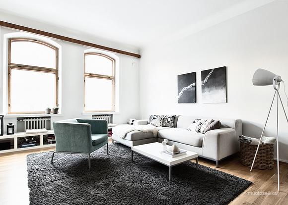 Olohuoneen Sohva : ... sisustus,harmaa,sohva,suuret ikkunat,olohuoneen sisustus