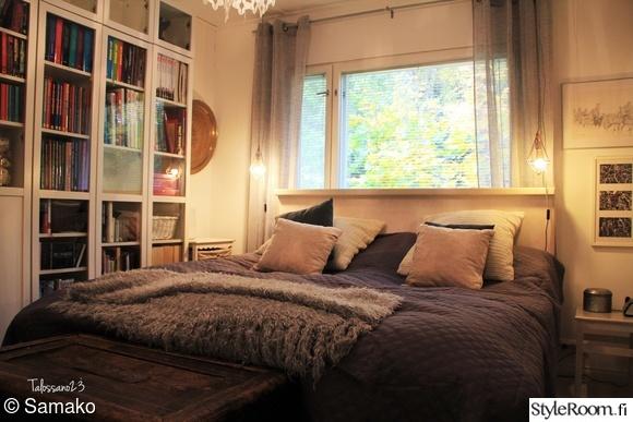 tummaharmaa,remontti valmis,makuuhuoneen sänky,makuuhuoneen tekstiilit,sängynpääty