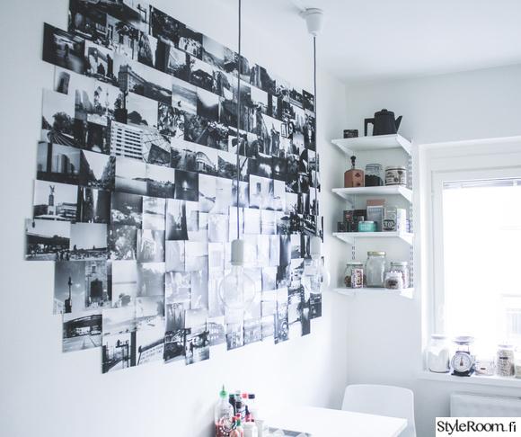 valokuvaseinä,keittiö,kitchen,ruokapöytä,keittiöpurnukat