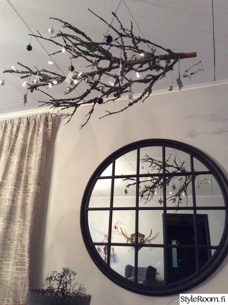 jouluinen oksa,pyöreä peili