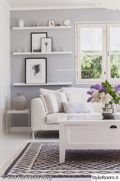 olohuone,sohva,sohvapöytä,matto,tauluhyllyt